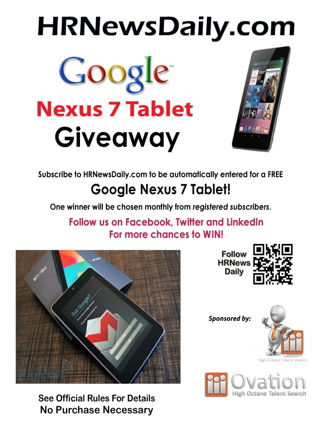 Google Nexus 7 Tablet Subscriber Giveaway