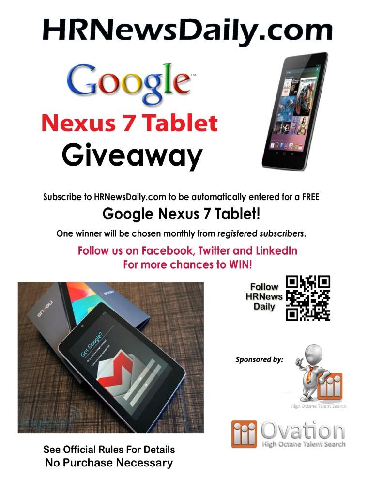 Google Nexus 7 Tablet Subscriber Giveaway